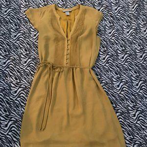 H&M Mustard Yellow Gold Sheer Tie Dress Womans 6